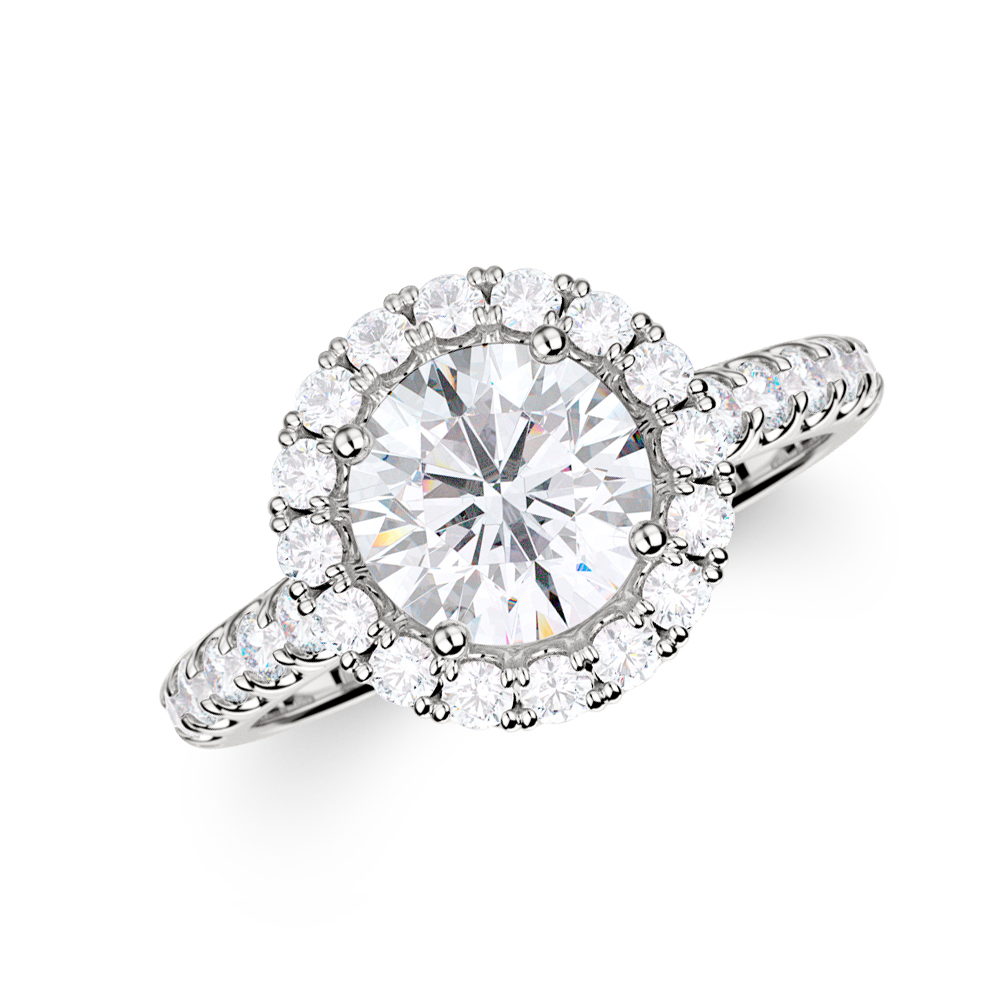 a09435fb474 Pavé Halo Diamond Engagement Ring